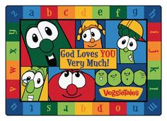 This VeggieTales rug would be perfect for a nursery, kids room, Sunday School class, kids area at a doctor's office... so many great uses!