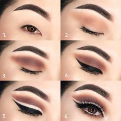 Gorgeous Makeup: Tips and Tricks With Eye Makeup and Eyeshadow – Makeup Design Ideas Eye Makeup Cut Crease, Eye Makeup Steps, Cut Crease Hooded Eyes, Red Eyeliner, Make Up Tutorial Contouring, Eyeliner Tutorial, Cut Crease Tutorial, Asian Makeup Monolid, Monolid Eyes