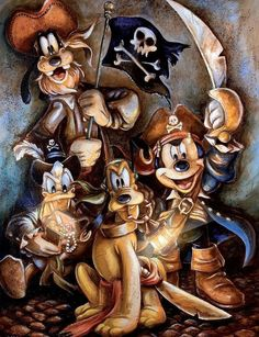 Captain Mickey leads his ''Motley Crew'' on this swashbuckling work by artist Darren Wilson. Goofy, Pluto, and Donald share the limelight on this giclee that is available on canvas or paper and in a variety of frame styles. Disney Mickey Mouse, Mickey Mouse Y Amigos, Mickey Mouse And Friends, Disney Cars, Minnie, Art Disney, Disney Images, Disney Pictures, Disney Love