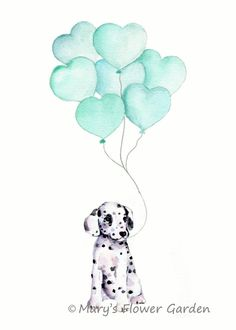 Mint nursery art, puppy with mint balloon, dog illustration, baby boy nursery art, neutral nursery decor, mint baby, kids wall art