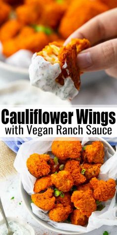 """Gebackener Blumenkohl mit Buffalo Sauce Super simple recipe for crispy baked cauliflower (cauliflower """"wings"""") from the oven with ranch sauce. Super delicious, vegan and the perfect feel-good dish! You can find more vegan recipes at veganheaven. Vegan Foods, Vegan Dishes, Vegan Vegetarian, Vegan Meals, Vegan Keto Recipes, Vegan Meal Plans, Baked Veggie Recipes, Vegan Recipes Vegetables, Easy Healthy Vegetarian Recipes"""