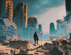 """""""From Here To Nowhere"""": The Superb Sci-Fi, Post-Apocalypse And Cyberpunk Concept Art By Polygonatic – Design You Trust Post Apocalypse, Apocalypse Aesthetic, Apocalypse Survival, Apocalypse Landscape, Dystopian Art, Post Apocalyptic City, Environment Concept Art, Environmental Art, End Of The World"""