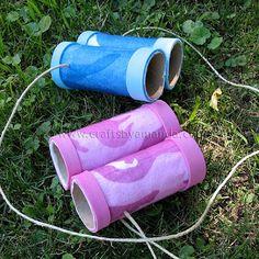 Craft: binoculars from cardboard tube, camo felt, and craft foam
