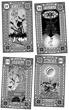 4 cards from the Major Arcana of the Sickly Tarot