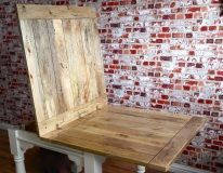 Clever tiny table that folds out to  be a regular sized farm house dining table.  love this!