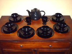 black glass amethyst 20 p Tea set
