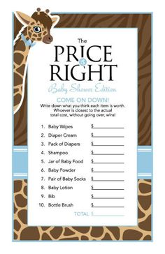 New baby shower ideas for boys giraffe blue 53 Ideas Fun Baby Shower Games, Boy Baby Shower Themes, Baby Shower Decorations, Baby Games, Price Is Right Games, Baby Shower Giraffe, Baby Bundles, Wishes For Baby, New Baby Products
