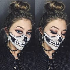 16 Unique Halloween Makeup Ideas You Have To Try: Easy Half-Skull – Amanda Bloom Beauty Skeleton Makeup Half Face, Half Skull Makeup, Half Face Makeup, Half Skull Face Paint, Cute Halloween Costumes For Teens, Skeleton Halloween Costume, Pretty Halloween, Halloween Skeletons, Halloween 2018