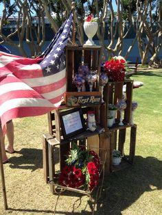 Tuna Harbor Park Flag Day Wedding. picnic style. red white and blue, americana Lauren Sharon Vintage Rentals and Design laurensharon.com
