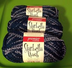 3 Skeins Starbella Flash Ruffle Yarn! Silks! $13 SHiPPED! Dark Turquoise & Metallic Silver! #Starbella