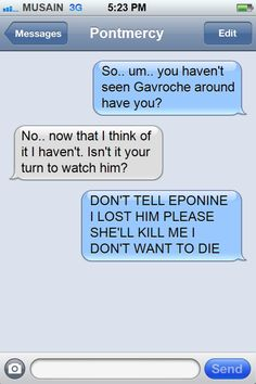 Grantaire to Marius  For some reason, I find this really cute...