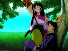 Miroku and Sango by the tree from Inuyasha Miroku, Kagome Higurashi, Kirara, Anime Couples, Cute Couples, Demon Dog, Sengoku Period, Inu Yasha, Kagome And Inuyasha