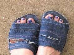 Flip Flop/ Jeans Repurpose http://www.cutoutandkeep.net/projects/recycled-sandle-slippers