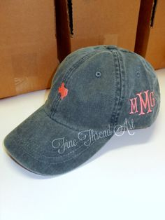 4c73770d25664 LADIES Mini State Hat with Side Monogram Baseball Cap Hat LEATHER strap Mom  Bridesmaid Bride Bachelorette Pigment Dyed South Louisiana Texas