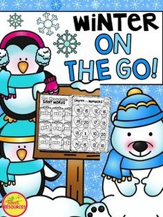 Winter Activities for Kindergarten  Winter math and literacy NO PREP printables pack! 50 pages of Winter themed printables for your kindergarten classroom. Your students will enjoy all the fun activities and adorable graphics that have been carefully selected for each page.