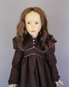 "Close-up of 23"" wax Lebastiano doll, with original glass inset eyes and human hair wig, made in an edition of 80 pieces, West Germany, 1981, by BeBe Deval."