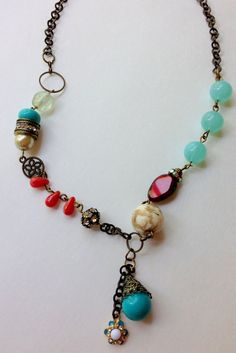 Whimsical Girl Boho,Gypsy, Whimsical Handmade Beaded Necklace with Czech Glass Beads, Glass, Natural Stone Beads w/Dangle Charms