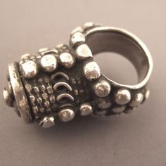 """Silver, Sudan  The very decorated jewels reflect the Arabic origin of the population: this old ring with the very abundant granulation comes from the tribes Bedouins """"Rashaida"""" of Sudan... Size:9,5 adaptable Weight:63,3gr www.halter-ethnic.com...see """"My Lucky Finds"""""""
