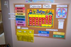 reflective calendar in the preschool room | The top of the units hold coloring books and various resources I use ...