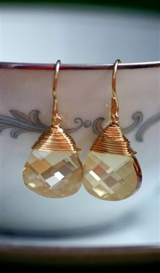 Gold Fill Champagne Swarovski Earrings