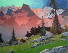 Painting techniques are easily adapted for oil and watercolour, but fast pleasure is found by going for them in acrylic. Speedy drying times and the knowledge that mistakes can be covered up in an . Canadian Painters, Canadian Artists, Abstract Landscape, Landscape Paintings, Landscapes, Painting Inspiration, Art Inspo, Mountain Paintings, Painting Techniques