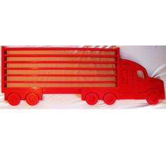Painted Large Wooden Semi Truck Hanging Storage Display Shelf for Hot Wheels and Matchbox Cars - Nearly 5 Feet Long!!!