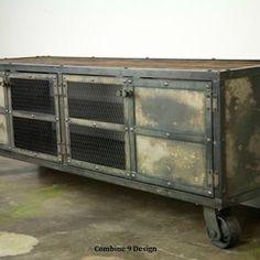 Urban Vintage Industrial Media Console - Rustic Reclaimed Wood Top by Lee Cowen