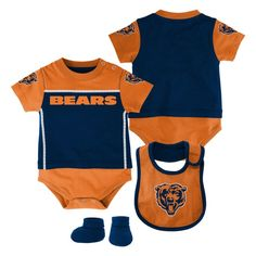 Chicago Bears Infant Creeper, Bib & Booties Set - Ash/Navy Blue/Orange