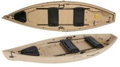 "The NuCanoe ""Frontier 12"" is a hybrid kayak, boasting a 20"" deck and 70"" of seating track allowing multiple one- or two-seat configurations. The Frontier has a dry hatch, space for your crate, and multiple spaces for accessory mounting. This is an exceptionally stable boat, with over 155 possible seat and gear configurations."