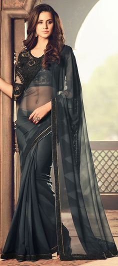 Low Waist Saree, Purple Saree, Intelligent Women, Georgette Fabric, Party Wear Sarees, Indian Beauty Saree, Indian Outfits, Dress Making, Black And Grey