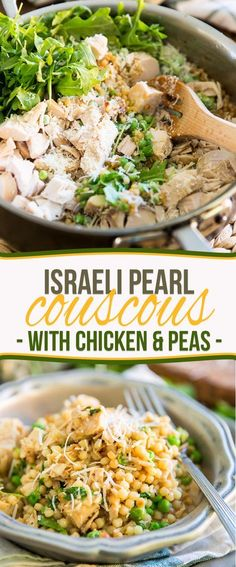 Israeli Pearl Couscous with Chicken and Peas - Israeli Pearl Couscous with Chic. - Israeli Pearl Couscous with Chicken and Peas – Israeli Pearl Couscous with Chicken and Peas by S - Pearl Couscous Recipes, Cooking Recipes, Healthy Recipes, Mediterranean Recipes, Healthy Eating, Healthy Food, Healthy Carbs, Clean Eating, Entrees
