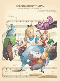 Alice in Wonderland Characters The Unbirthday Song Sheet Music Art Print - Products - zeichnungen Disney Songs, Disney Quotes, Disney Art, Disney Pixar, Disney Villains, Alice In Wonderland Characters, Alice In Wonderland Tea Party, Tatto Alice, Disney Musik
