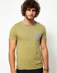 ASOS T-Shirt With Speckle Jersey And Contrast Pocket