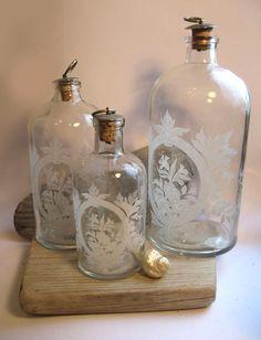 3 victorian style boudoir / bath salt jars with stencil