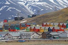 Rows of multicoloured homes in the town of Longyearbyen, Svalbard, Norway.File:Longyearbyen colourful homes. Longyearbyen, Cinque Terre, Svalbard Norway, Seed Bank, Lofoten, Island, Places Around The World, Arctic, Places To Visit