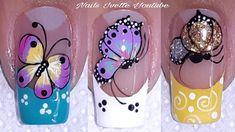 Classy Nail Designs, Pink Nail Designs, Gel Designs, Beautiful Nail Designs, Butterfly Nail Designs, Butterfly Nail Art, Subtle Nails, Latest Nail Art, Pretty Nail Art