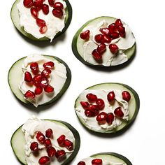 These Cucumber, Cream Cheese, and Pomegranate Bites are a perfect healthy snack for fall.  Plus, they are only 63 calories! #snacks #lowcalorie | Health.com