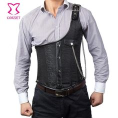 Vintage Black Brocade Buckled One-Shoulder with Chain Gothic Jacket Men Steampunk Corset Vest Top Mens Waistcoats Clothing Mens Steampunk Vest, Steampunk Corset, Gothic Corset, Steampunk Cosplay, Waist Trainer For Men, Gothic Jackets, Men's Waistcoat, Mode Costume, Herren Outfit