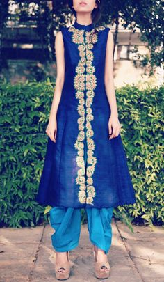 Ink blue achkan jacket with blue dhoti pants