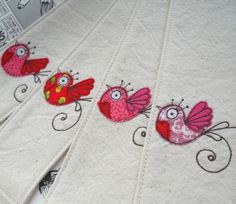 fabric bird bookmarks by another wonderfully talented artist from the UK...fiona t.