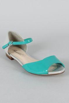 Breckelle Becky-38 Two Tone Peep Toe Flat Sandal