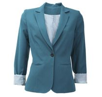 Trailblazing in a trendy turquoise jacket