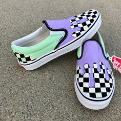 Painted with Angelus products as well as their fabric softener. Please message on what type of slip on you would prefer (checkered, blank). Painted Vans, Custom Painted Shoes, Hand Painted, Custom Vans Shoes, Cool Vans Shoes, Custom Slip On Vans, Vans Slip On Shoes, Vans Sneakers, Vans Shoes Fashion