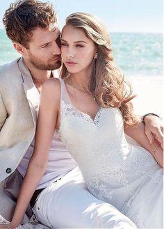 #Dressilyme - #Dressilyme Dressilyme Fascinating Tulle V-neck Neckline A-line Wedding Dress With Lace Appliques - AdoreWe.com