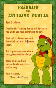 Tattling Turtle (to use with a Franklin plush)