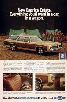 1973 Chevrolet Caprice Estate Station Wagon original vintage advertisement. Photographed in color. All vinyl interior and large enough to carry 4' x 8' sheets of plywood!