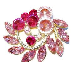 Pink Rhinestone Brooch Rivoli Stones Ice by BrightgemsTreasures