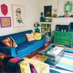 Why be a when you can be a Obsessed with this quirky and colourful room (complete with pillow) found via Best Interior Design, Humble Abode, Room Colors, Diy Furniture, Building A House, Toddler Bed, Couch, Living Room, Pillows