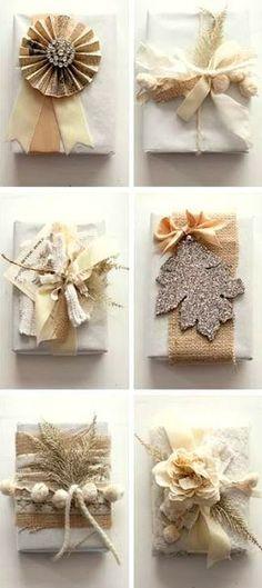 #Christmas gift #wrapping ideas naturals golds white beautiful! #DIY #crafts ToniK  ⓦⓡⓐⓟ ⓘⓣ ⓤⓟ.blogspot.com