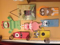 DIY yo gabba gabba puppets made from brown paper lunch bags